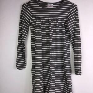 Hanna Andersson Girls Green & White striped Dress